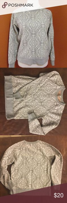 J Crew White and Gray Paisley Sweater - Like New Pretty sweater from J Crew in size XS. Looks great with jeans. Like new condition. J. Crew Sweaters Crew & Scoop Necks