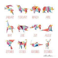 2014 Calendar Geometric Animals