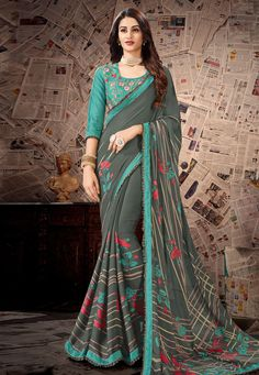 Product Features : Color: Grey Fabric: Satin Faux Georgette Blouse Fabric: Cotton Slub Saree Length: Meters Blouse Length: Meters Occasion: Casual Wear Disclaimer: Color and Texture may have slight variation due to photography Silk Cotton Sarees, Tussar Silk Saree, Art Silk Sarees, Georgette Sarees, Lehenga Choli, Cotton Silk, Printed Cotton, Latest Saree Trends, Latest Sarees