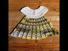 Robe crochet bebe 2/2 / baby dress crochet 2/2 ~ **Free Crochet Video Tutorial Pattern in French for this sweet little dress ~ PART 2/2**