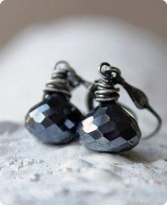 ❖ black earrings gemstone metallic sterling silver