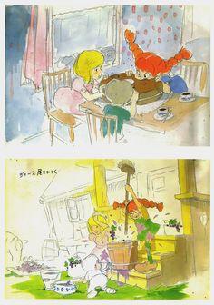 Concept art from the Pippi Longstocking movie Hayao Miyazaki never made