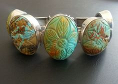 Signed 925 Sterling Silver Vintage Bracelet Carved Turquoise Spring Flower 1145
