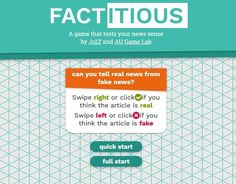 Factitious is an engaging online game to teach about fake news. It could be a fun activity to do to finish-up a more extensive lesson on the topic. You can learn more about it at NPR's articl… #tlchat