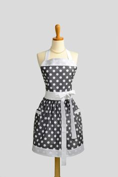 Womens Bib Full Apron - Handmade Vintage Style Gray White Polka Dot Retro Kitchen Apron Personalize or Monogram. $37.00, via Etsy.