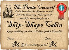 Pirate Certificate: Award for a Ship-Shape Cabin