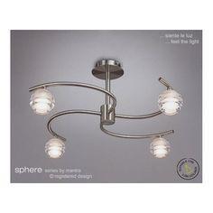 Mantra Lighting M8004 Sphere Satin Nickel 4 Light Semi-Flush Ceiling Light - Lighting from The Home Lighting Centre UK