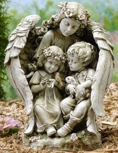 Gardian Angel With Children And Bunny Garden Statue – Beattitudes Religious Gifts