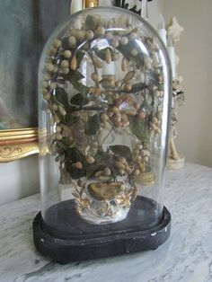 Victorian French Bridal Bouquet in Glass Display by VannasArmoire
