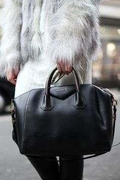 Fur coat + Givenchy bag.