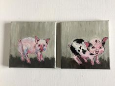 Pigs Acrylic on Canvas #Pigs #XmasGift #CanvasPainting #IrishPainting #PigsCanvas #IrishGift #SmallCanvas #PigCanvas #Canvas
