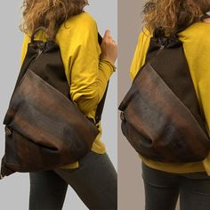 Backpack in brown linen canvas and hand painted leather,named Kalliope MADE TO ORDER