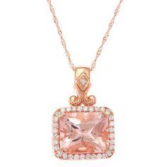 EORC 14k Rose Gold Morganite 1/3ct TDW White Diamonds Pendant Necklace