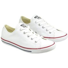 Converse Womens Shoes All Star Ox Dainty White ($71) ❤ liked on Polyvore featuring shoes, sneakers, converse, sapatos, high top sneakers, white high low top, white hi tops, converse sneakers and white shoes