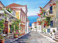 Today we want to show you stunning watercolor paintings of Greece created by artist Pantelis Zografos. For 30 years Pantelis Zografos doesn't live in Greece, but love to Watercolor Landscape, Landscape Paintings, Watercolor Paintings, Watercolors, Landscape Wallpaper, Art Aquarelle, Image Nature, Stone Street, Cross Paintings