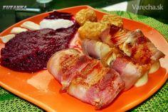 Cviklové pyré s opečenou mozzarellou v slaninke (fotorecept)