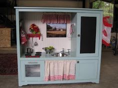 Kids kitchen from old entertainment center!
