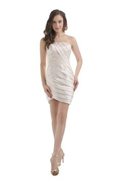 Honeystore Women's Corset Mini Strapless Satin with Applique Bridesmaid Dresses