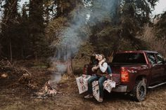 Cozy campfire, truck, and dancing in the rain made for the best anniversary session. Photos With Dog, Cool Photos, Outdoor Engagement Pictures, Fire In My Soul, Cute Couples Photos, Slow Dance, How To Memorize Things, Things To Sell, Chevy Pickups