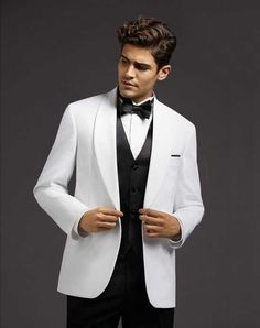 2018 New Arrived white and Black Suits Loose Jacket Men Custom Groom Tuxedos  3 Piece Tailored Suit Prom Blazer Terno Masculino 9f8ad39296b