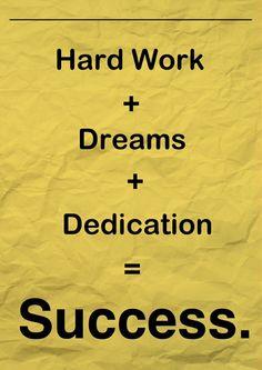 Trabajo duro + Sueños + Dedicación = Éxito