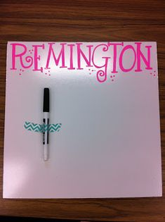 Gift for students at the end of the year. 12x12 white boards personalized with their names. Cute idea!