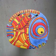 Купить Керамическое панно «Рыба» - рыба, керамика ручной работы, синий, зелёный, красный, жёлтый
