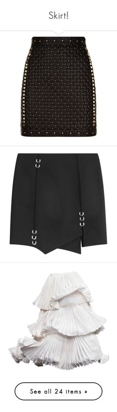"""""""Skirt!"""" by yadiranies ❤ liked on Polyvore featuring skirts, mini skirts, bottoms, balmain, studded skirt, mini skirt, punk skirt, short skirts, thierry mugler and black"""