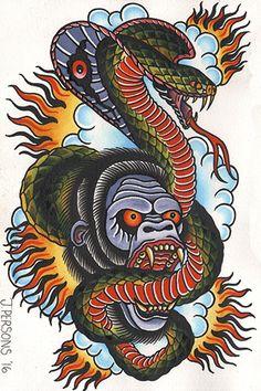 Gorilla & Cobra by Josh Persons Serpent Tattoo Framed Art Print - Gorilla . - Gorilla & Cobra by Josh Persons Serpent Tattoo Framed Art Print – Gorilla … – Gorilla & Cobra - Band Tattoos, Sleeve Tattoos, Diy Tattoo, Britney Spears Tattoos, American Traditional Rose, Arielle Tattoo, Tattoo Wallpaper, Desenhos Old School, Tribal Arm