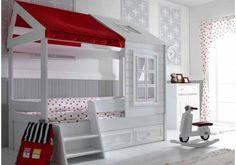 Loft, Bed, Furniture, Home Decor, Tiny House Cabin, Engineered Wood, Closet Storage, Drawers, Ladder