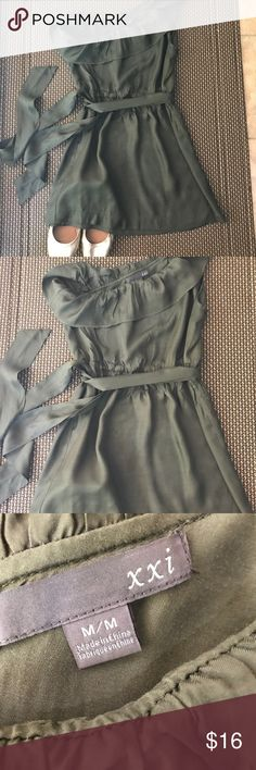 Olive One shoulder Dress Olive green dress. 100% Rayon. Great condition. Very casual and cute dress. Forever 21 Dresses One Shoulder
