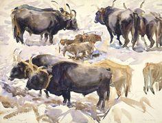 John Singer Sargent - Oxen, Carrara 1911 - The Athenaeum Animal Paintings, Animal Drawings, Monet, John Singer Sargent Watercolors, Carrara, Beaux Arts Paris, Portraits, Watercolor Animals, American Artists