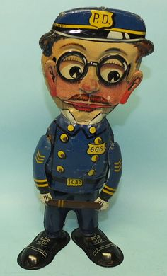 RARE 1931 MARX OFFICER 666 MECHANICAL TIN WINDUP WALKER TOY | Toys of Times Past