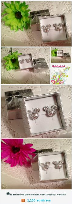 MOUSE EARS Earrings for Disney Wedding Party in Dazzling Bright Silver Acrylic https://www.etsy.com/listing/500766112/