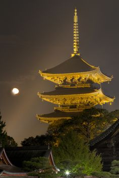 Five-story pagoda of Tō-ji temple with Moon, Kyoto, Japan