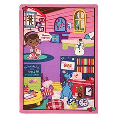 Disney Junior Girls Toy Rug Carnival Doc McStuffins Toys Play Mat Bedding Game Rugs w/ Doctor's Play Set, Doctor Play Set, Doc Mcstuffins Toys, Kids Area Rugs, Disney Rooms, Kids Room Organization, Disney Junior, Toddler Toys, Toddler Girl, Toys For Girls