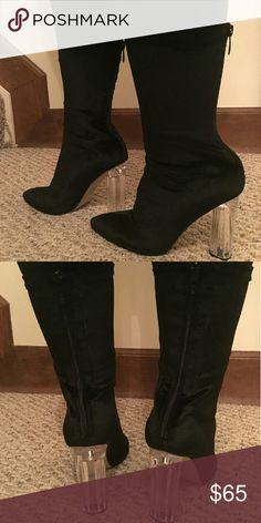 Boots Brand new never worn (except to model) Black velvet clear heeled sock boots. 3.5 inch heel. UK size 5, US size 7. Brand new in box. Shoes Heeled Boots