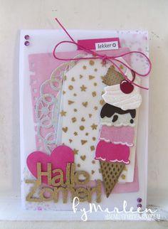 card ice cream cone icecream cone Marianne design die LR0365 - summer birthday card byMarleen