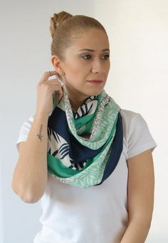 Accessories, infinity scarf, loop scarf, spring scarf, for her, gift idea, white, green, mint, dark blue, leaf printed, silky scarf