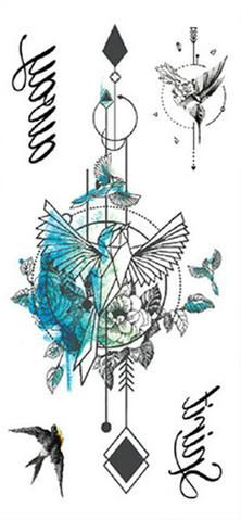 Arrow Spine Back Tattoo Ideas for Women - Blue Turquoise Watercolor Bird Sparrow Arrows Temporary Tattoo at MyBodiArt.com