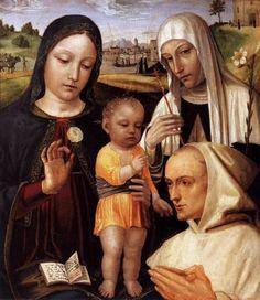 Madonna con Bambino, Santa Caterina e il beato Stefano Maconi, XV d.C. Atlante dell'arte italiana