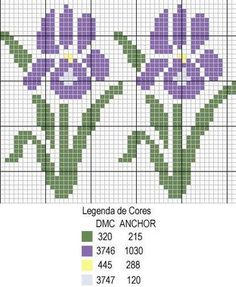 fleur - flower - iris - point de croix - cross stitch - Blog : http://broderiemimie44.canalblog.com/