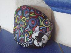 Bemalter STein, Katze bunt, Kunst Unikat, ca 13x15cm, für Katzensammler   eBay