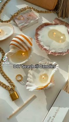 Seashell Candles, Seashell Crafts, Handmade Candles, Diy Candles, Making Candles, Homemade Gifts, Diy Gifts, Candle Craft, Ideias Diy