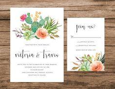 Desierto de cactus y suculenta invitación por AlexaNelsonPrints