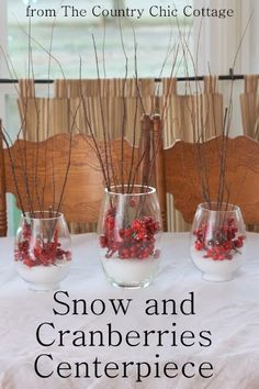Snow and Cranberries Centerpiece -- a lovely addition to your holiday table and so easy to make. Come get my secrets for making your branch.Angie from the Country Chic Cottage Country Christmas, Winter Christmas, All Things Christmas, Christmas Holidays, Country Holidays, Christmas Concert, Nordic Christmas, Christmas Kitchen, Blue Christmas