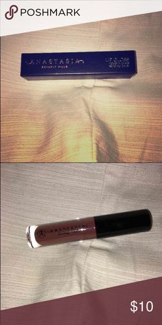 Anastasia Beverly Hills lip gloss Never been used sample size lip gloss. It's in the shade fudge. It's a beautiful dark warm chocolate brown. Still in the packaging. Anastasia Beverly Hills Makeup Lip Balm & Gloss