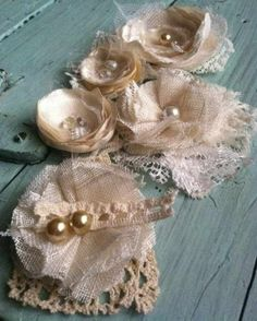Shabby Linen And Lace Fabric Flowers
