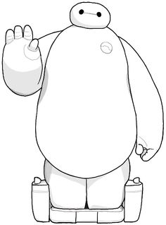 Finished Black and White Line Drawing of BayMax the Balloon Man Robot