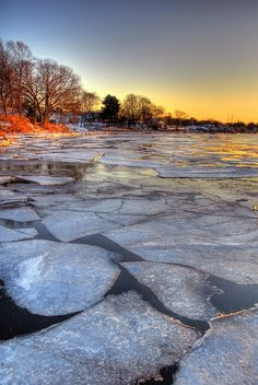 Ice on the Branford River,  Long Island Sound in New Haven County, Connecticut, United States